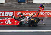 Feb 10, 2019; Pomona, CA, USA; NHRA top fuel driver Doug Kalitta during the Winternationals at Auto Club Raceway at Pomona. Mandatory Credit: Mark J. Rebilas-USA TODAY Sports