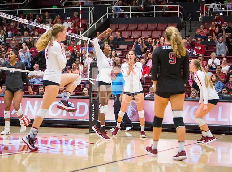 STANFORD, CA - October 12, 2018: Meghan McClure, Tami Alade, Audriana Fitzmorris, Morgan Hentz, Jenna Gray at Maples Pavilion. No. 2 Stanford Cardinal swept No. 21 Washington State Cougars, 25-15, 30-28, 25-12.