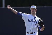 University of Kentucky Wildcats pitcher Kyle Cody #23 throwing in the outfield before a game against the University of Virginia Cavaliers at Brooks Field on the campus of the University of North Carolina at Wilmington on February 14, 2014 in Wilmington, North Carolina. Kentucky defeated Virginia by the score of 8-3. (Robert Gurganus/Four Seam Images)