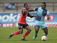 Steve Yawson (on Debut) for Morecambe tackles Aaron Pierre of Wycombe Wanderers during the Sky Bet League 2 match between Morecambe and Wycombe Wanderers at the Globe Arena, Morecambe, England on 29 April 2017. Photo by Stephen Gaunt / PRiME Media Images.