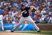 Milwaukee Brewers pitcher Tyler Cravy (45) delivers a pitch during a game against the Chicago Cubs on August 13, 2015 at Wrigley Field in Chicago, Illinois.  Chicago defeated Milwaukee 9-2.  (Mike Janes/Four Seam Images)