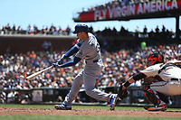 SAN FRANCISCO, CA - MAY 17:  Cody Bellinger #35 of the Los Angeles Dodgers bats against the San Francisco Giants during the game at AT&T Park on Wednesday, May 17, 2017 in San Francisco, California. (Photo by Brad Mangin)
