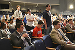 Sept. 12, 2012 - Hempstead, New York, U.S. - Audience members line up to ask questions to Christina Romer, Former Chairperson of the Council of Economics Advisors for President Barack Obama, at the end of her lecture at Hofstra University on: What's at Stake? Economic Issues in the 2012 Presidential Election. This lecture is part of Debate 2012 Pride Politics and Policy, a series of events leading up to when Hofstra hosts the 2nd Presidential Debate between Pres. Barack Obama and Mitt Romney, on October 16, 2012, in a Town Meeting format.