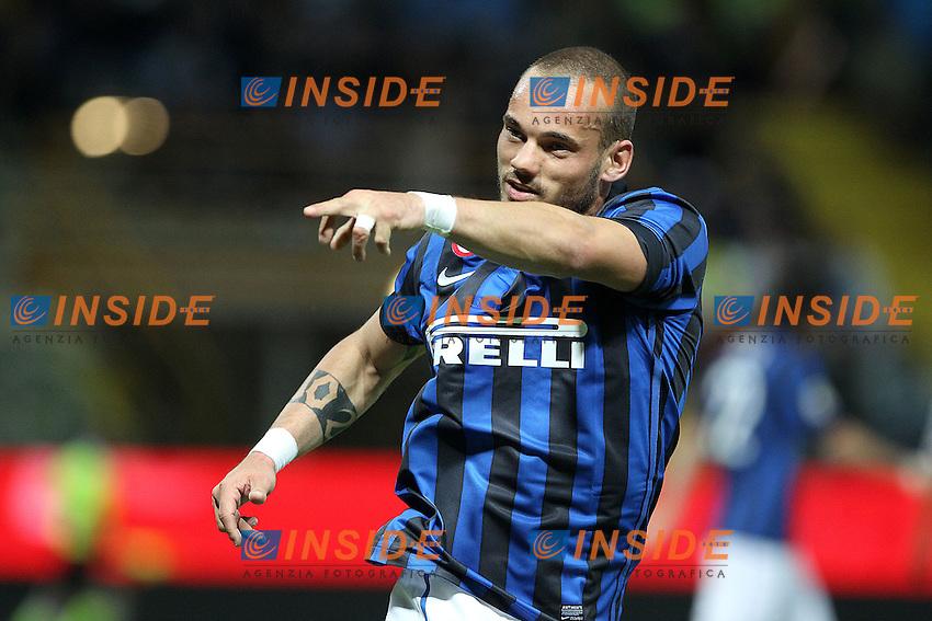 "Esultanza di Wesley Sneijder Inter.Goal Celebration.Parma 02/05/2012 Stadio ""Tardini"".Football / Calcio Serie A 2011/12 Parma vs Inter.Foto Insidefoto Paolo Nucci."