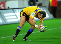 Conrad Smith scores during the Super Rugby match between the Hurricanes and Sharks at Westpac Stadium, Wellington, New Zealand on Saturday, 9 May 2015. Photo: Dave Lintott / lintottphoto.co.nz