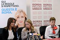 Roma 6 Maggio 2016<br /> Turchese Baracchi, Giorgia Meloni, Irene Pivetti,.<br /> Presentazione delle liste a sostegno di Giorgia Meloni a Sindaca di Roma<br /> ROME, ITALY - May 06: <br /> Presentation of the lists in support of Giorgia Meloni to mayor of Rome at the headquarters of the electoral campaign.<br /> on May 6, 2016 in Rome, Italy.