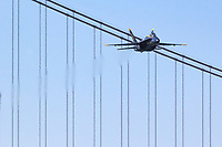 Blue Angels 6, the opposing solo, approached the airshow box from out of the west and over the Golden Gate Bridge