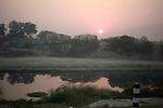 Sunrise on the outskirts  of New Delhi, India.