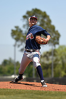 Atlanta Braves pitcher Chad Sobotka during a minor league spring training game against the Houston Astros on March 29, 2015 at the Osceola County Stadium Complex in Kissimmee, Florida.  (Mike Janes/Four Seam Images)