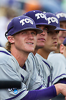 TCU Horned Frogs Evan Williams (27) before the NCAA College World Series game against the LSU Tigers on June 14, 2015 at TD Ameritrade Park in Omaha, Nebraska. TCU defeated LSU 10-3. (Andrew Woolley/Four Seam Images)