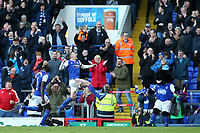 Ipswich Town's Freddie Sears celebrates scoring his side's first goal <br /> <br /> Photographer David Shipman/CameraSport<br /> <br /> The EFL Sky Bet Championship - Ipswich Town v Preston North End - Saturday 3rd November 2018 - Portman Road - Ipswich<br /> <br /> World Copyright &copy; 2018 CameraSport. All rights reserved. 43 Linden Ave. Countesthorpe. Leicester. England. LE8 5PG - Tel: +44 (0) 116 277 4147 - admin@camerasport.com - www.camerasport.com