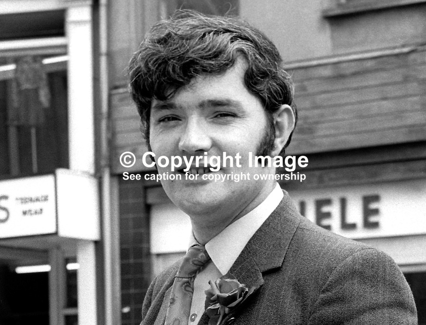 Pat McHugh, candidate, N Ireland Labour Party, North Antrim, N Ireland Assembly Election, June 1973. 197306000480b<br />