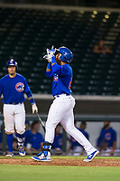 AZL Cubs left fielder Nelson Velazquez (20) celebrates after hitting a home run during a game against the AZL Brewers on August 6, 2017 at Sloan Park in Mesa, Arizona. AZL Cubs defeated the AZL Brewers 8-7. (Zachary Lucy/Four Seam Images)