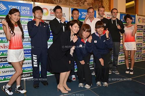 (L to R) Syo Sasaki (JPN), Reiko Shiota (JPN), Shintaro Ikeda (JPN), Lee Chong Wei (MAS), Mizuki Fujii (JPN), Gade Peter Hoegh (DEN), Reika Kakiiwa (JPN), Mogensen Carsten (DEN), Boe Mathias (DEN), .September 18, 2012 - Badminton : Reiko Shiota attends press conference in Tokyo, Japan, regarding the Yonex Open Japan 2012 Badminton Championships 2012. (Photo by Jun Tsukida/AFLO SPORT) [0003].