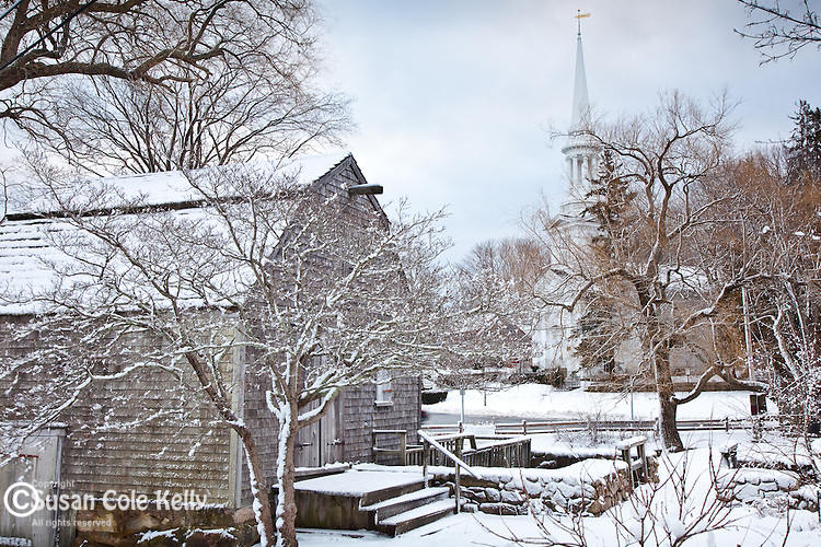 Dexter's Gristmill and First Church in Sandwich, Cape Cod, MA, USA