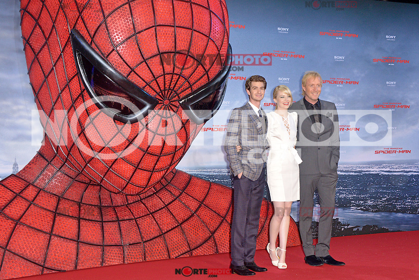 Andrew Garfield, Emma Stone (wearing an Andrew Gn dress, Louboutin shoes) and Rhys Ifans attending the Germany premiere of the movie The Amazing Spider-Man at CineStar Sony Center in Berlin. Berlin, 20.06.2012...Credit: Timm/face to face /MediaPunch Inc. ***Online Only for USA Weekly Print Magazines*** NORTEPOTO.COM<br /> **SOLO*VENTA*EN*MEXICO**<br /> **CREDITO*OBLIGATORIO** <br /> *No*Venta*A*Terceros*