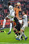 08.11.2018, BayArena, Leverkusen, Europaleque, Vorrunde, GER, UEFA EL, Bayer 04 Leverkusen (GER) vs. FC Zuerich (SUI),<br />  <br /> DFL regulations prohibit any use of photographs as image sequences and/or quasi-video<br /> <br /> im Bild / picture shows: <br /> Lukas Hradecky Torwart (Leverkusen #1), rettet einen Ball vor Assan Ceesay (FC Zuerich #99), <br /> <br /> Foto &copy; nordphoto / Meuter<br /> <br /> <br /> <br /> Foto &copy; nordphoto / Meuter