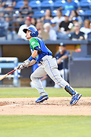 Lexington Legends Jackson Lueck (9) swings at a pitch during a game against the Asheville Tourists at McCormick Field on July 1, 2019 in Asheville, North Carolina. The Tourists defeated the Legends 9-8. (Tony Farlow/Four Seam Images)