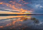 Belle Fourche National Wildlife Refuge, South Dakota: Sunset reflections at dusk, Rocky Point Recreation Area