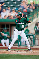 Fort Wayne TinCaps center fielder Jeisson Rosario (18) at bat during a game against the West Michigan Whitecaps on May 17, 2018 at Parkview Field in Fort Wayne, Indiana.  Fort Wayne defeated West Michigan 7-3.  (Mike Janes/Four Seam Images)