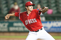 Round Rock Express pitcher Tanner Scheppers #25 delivers during the Pacific Coast League baseball game against the New Orleans Zephyrs on May 2, 2012 at The Dell Diamond in Round Rock, Texas. The Express defeated the Zephyrs 10-5. (Andrew Woolley / Four Seam Images)