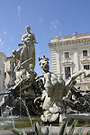 Fountain in Siracusa, Sicily.