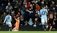 Manchester City's Leroy Sane scores his side's second goal past 1899 Hoffenheim's Oliver Baumann<br /> <br /> Photographer Rich Linley/CameraSport<br /> <br /> UEFA Champions League Group F - Manchester City v TSG 1899 Hoffenheim - Wednesday 12th December 2018 - The Etihad - Manchester<br />  <br /> World Copyright © 2018 CameraSport. All rights reserved. 43 Linden Ave. Countesthorpe. Leicester. England. LE8 5PG - Tel: +44 (0) 116 277 4147 - admin@camerasport.com - www.camerasport.com