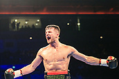 30th September 2017, Echo Arena, Liverpool, England; Matchroom Boxing, Eliminator for WBA Bantamweight World Championship; Undercard Super-Welterweight contest; Anthony Fowler versus Jay Byrne; Anthony Fowler celebrates his win the ref stops the fight in the 5th