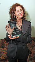 PHILADELPHIA - APRIL 5:  Academy Award Winning Actress Susan Sarandon shows off her 2006 Artistic Achievement Award presented to her backstage during the 2006 Philadelphia Film Festival April 5, 2006 in Philadelphia, Pennsylvania. The festival runs through April 11, 2006. (Photo by William Thomas Cain/Getty Images)