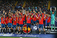 Spain wins and celebrate the cup<br /> Udine 30-06-2019 Stadio Friuli <br /> Football UEFA Under 21 Championship Italy 2019<br /> final<br /> Spain - Germany<br /> Photo Cesare Purini / Insidefoto