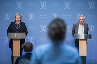 Press conference with Prime Minister Erna Solberg, Minister of Health Bent Høie to present the Corona commission, led by Stener Kvinnsland. <br /> <br /> <br /> Norwegian authorites introduced strict measures to combat the Coronavirus (COVID-19) in March 2020. <br /> <br /> <br /> ©Fredrik Naumann/Felix Features<br /> <br /> <br /> Pressekonferanse om koronakrisen og den nyoppnevnte Koronakommisjonen<br /> Statsminister Erna Solberg og helse- og omsorgsminister Bent Høie inviterer til pressekonferanse sammen med lederen for den nyoppnevnte Koronakommisjonen, Stener Kvinnsland.