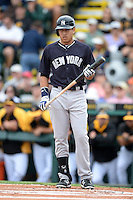 Outfielder Ramon Flores (81) of the New York Yankees during a spring training game against the Pittsburgh Pirates on February 26, 2014 at McKechnie Field in Bradenton, Florida.  Pittsburgh defeated New York 6-5.  (Mike Janes/Four Seam Images)
