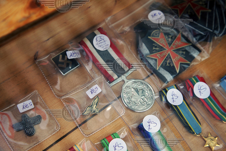 Military medals and paraphanelia, including Nazi sysmbols, for sale in the market in the centre of town. <br /> The town of Boston had the country's highest proportion of 'leave' votes cast in the EU referendum with almost 76 percent of ballots cast for Brexit. Lincolnshire has, in recent years, seen an influx of EU workers drawn to the area's agricultural industry. The 2011 census found about 13 percent of Boston's residents were born in Eastern Europe and migrated to the UK since 2004.