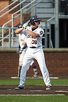 Jacob Meyers (38) of the Buies Creek Astros at bat against the Winston-Salem Dash at Jim Perry Stadium on August 15, 2018 in Buies Creek, North Carolina.  The Astros defeated the Dash 5-0.  (Brian Westerholt/Four Seam Images)