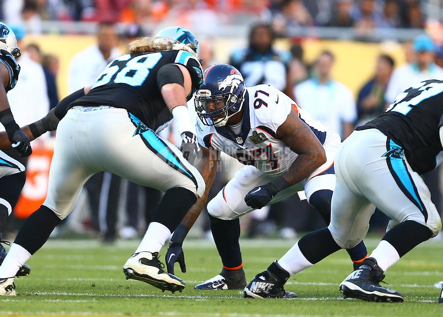Feb 7, 2016; Santa Clara, CA, USA; Denver Broncos defensive tackle Malik Jackson (97) against the Carolina Panthers in Super Bowl 50 at Levi's Stadium. Mandatory Credit: Mark J. Rebilas-USA TODAY Sports