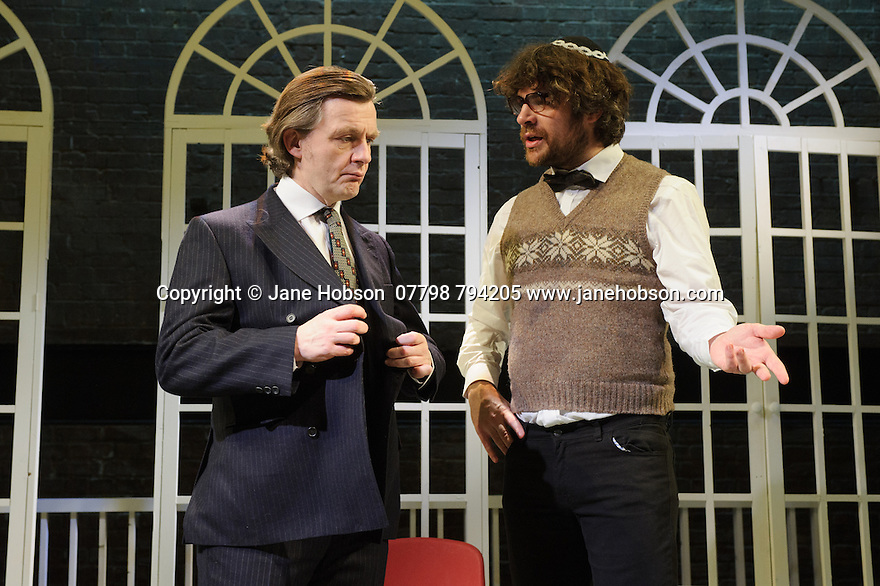 London, UK. 17.11.2015. THE DIVIDED LAING, by Patrick Marmion, directed by Michael Kingsbury, opens at the Arcola. Picture shows: Alan Cox (R. D. Laing), James Russell (Joseph Burke). Photograph © Jane Hobson.
