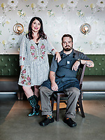 Owners of Julep Restaurant, Chef Kyle Foster and Katy Foster in Denver, Colorado, Friday, July 20, 2018. <br /> <br /> Photo by Matt Nager