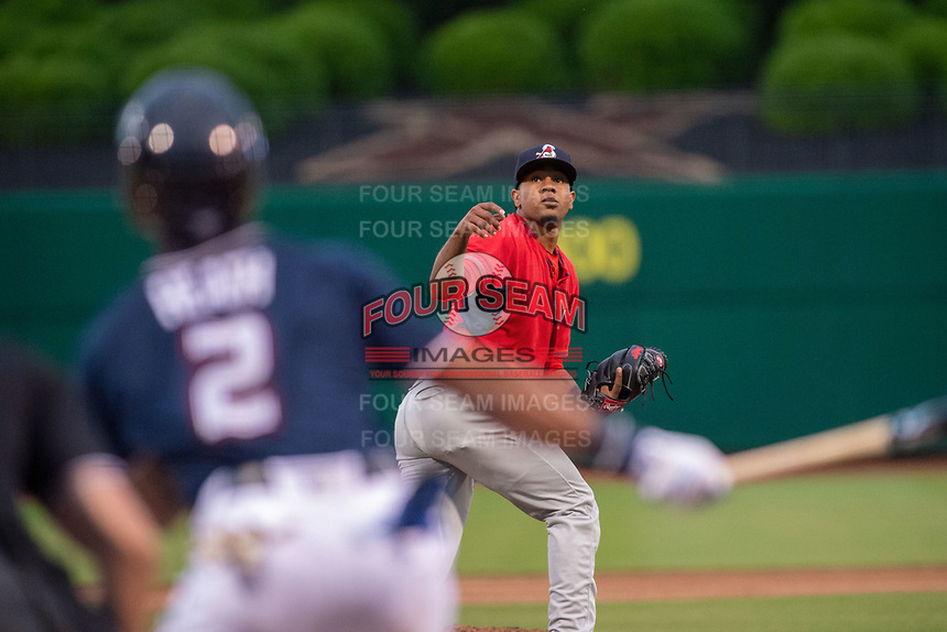Springfield Cardinals pitcher Angel Rondon (35) looks up to a ball hit by Northwest Arkansas Naturals outfielder Nick Heath (2) on May 18, 2019, at Arvest Ballpark in Springdale, Arkansas. (Jason Ivester/Four Seam Images)