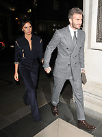 Victoria Beckham and David Beckham at the LFW (Men's) a/w 2019 GQ Dinner, Brasserie of Light, Selfridges, Duke Street, London, England, UK, on Monday 07 January 2019.<br /> CAP/CAN<br /> &copy;CAN/Capital Pictures