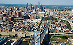 Aerial view of Old City, and Philadelphia Skyline