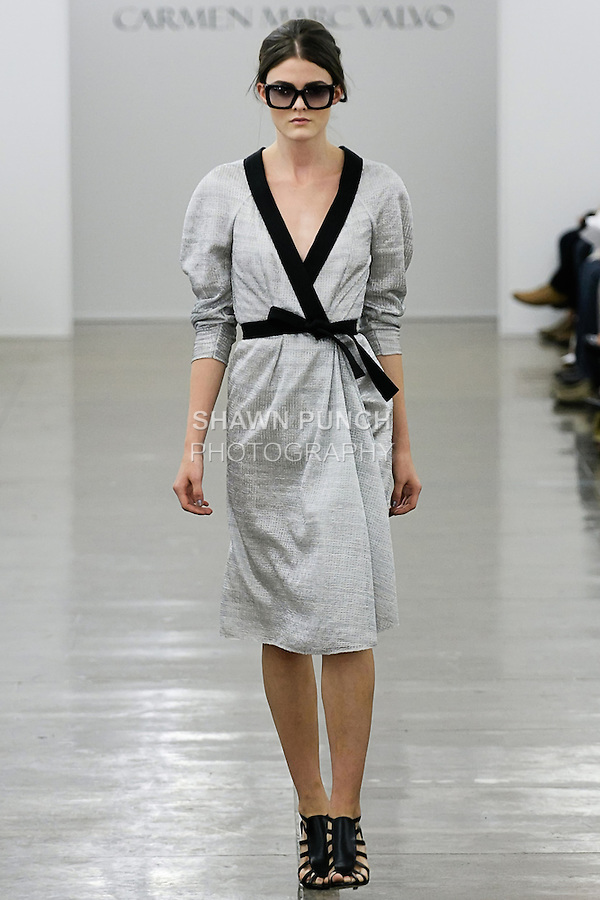 Hannah F walks runway in an outfit from the Carmen Marc Valvo Spring 2013 collection fashion show, during Mercedes-Benz Fashion Week Spring 2013.