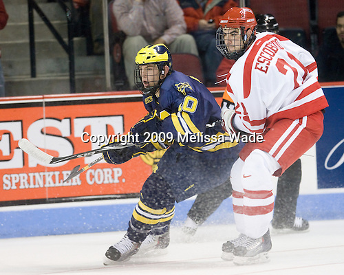 Chris Brown (Michigan - 10), Sean Escobedo (BU - 21) - The Boston University Terriers defeated the University of Michigan Wolverines 3-2 on Saturday, October 24, 2009, at Agganis Arena in Boston, Massachusetts.