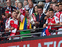 Laurent Koscielny of Arsenal holds the FA Cup during the FA Cup Final match between Arsenal v Chelsea, Wembley stadium, London on 27th May 2017