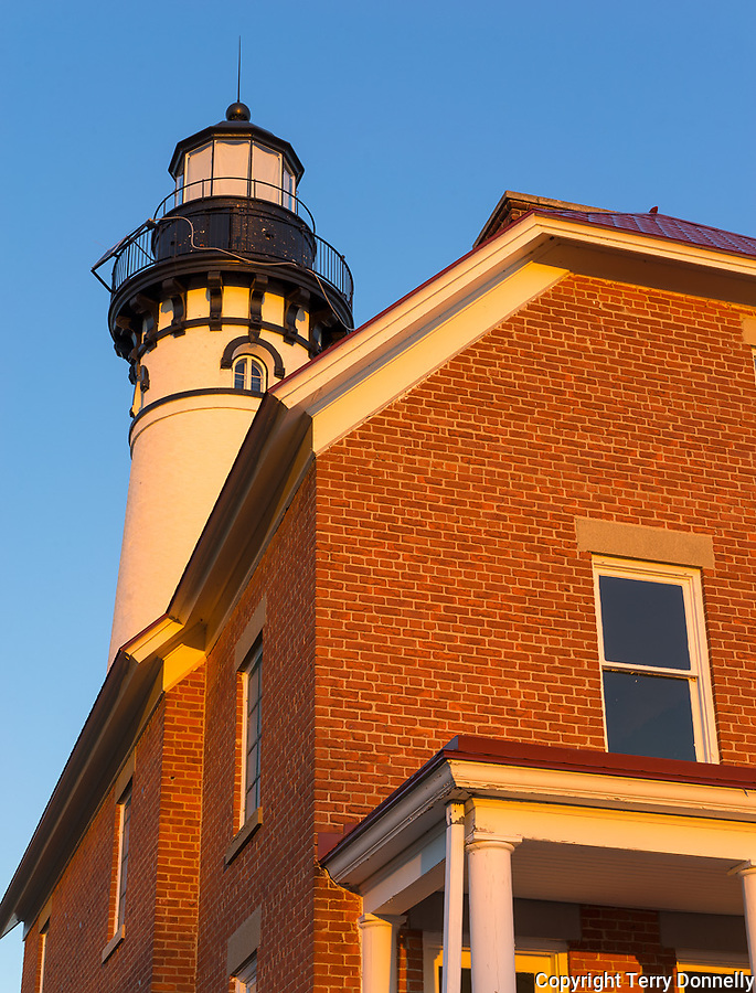 Pictured Rocks National Lakeshore, MI: Sunrise light on Au Sable Light Station (1874) on Au Sable Point