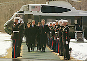 Thurmont, MD - February 23, 2001 -- United States President George W. Bush and first lady Laura Bush greet Prime Minister Tony Blair of Great Britain and his wife, Cherie, at Camp David, near Thurmont, Maryland on February 23, 2001..Credit: Martin H. Simon - Pool / CNP