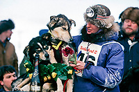 Libby Riddles with dogs Axle & Dugan @ finish line Nome Alaska Iditarod 1985 '85