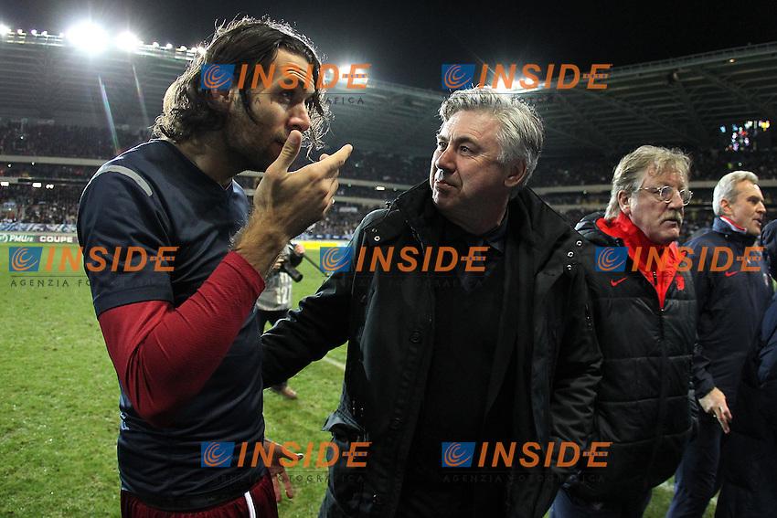Salvatore Sirigu e Carlo Ancelotti (PSG) .20/1/2012.Foto Insidefoto / Ouest Medias / Panoramic