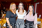 Nicole Fealy (Brosna), Kayleigh Power (Tralee) and Casey O'Connor (Tralee) enjoying the evening out in Ristorante Uno on Friday.