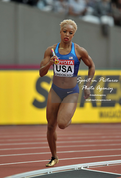 Natasha Hastings (USA) in the womens 4 x 400m relay. IAAF world athletics championships. London Olympic stadium. Queen Elizabeth Olympic park. Stratford. London. UK. 12/08/2017. ~ MANDATORY CREDIT Garry Bowden/SIPPA - NO UNAUTHORISED USE - +44 7837 394578