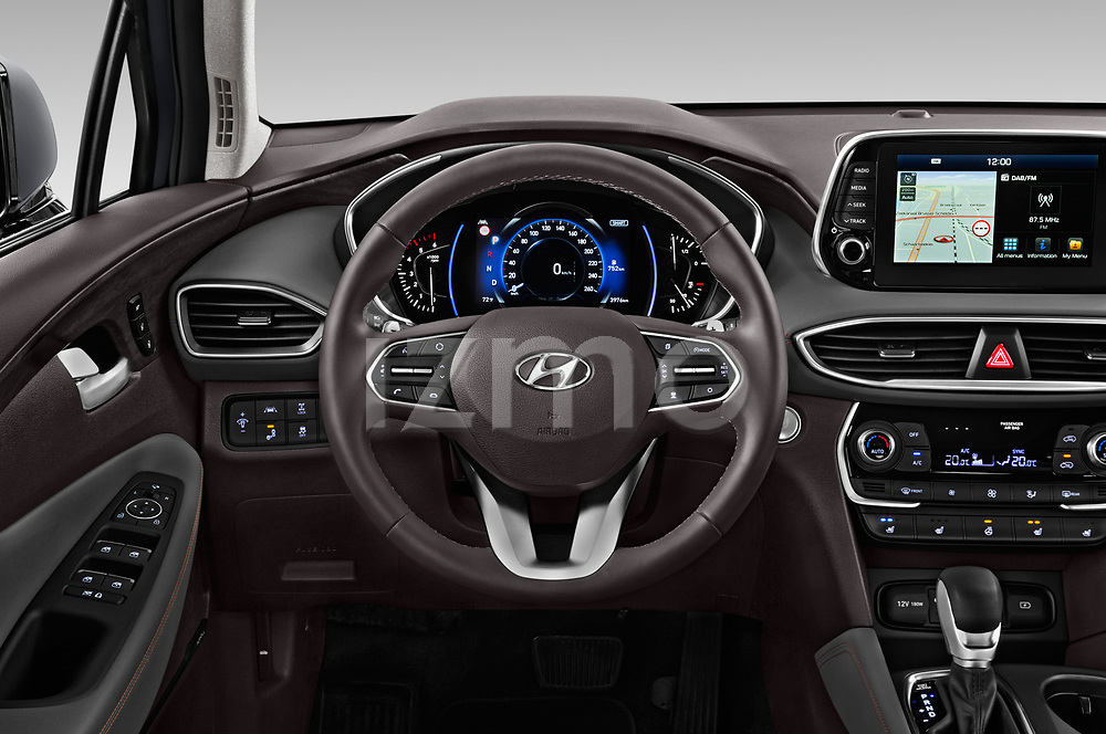 Car pictures of steering wheel view of a 2019 Hyundai Santa FE Shine 5 Door SUV